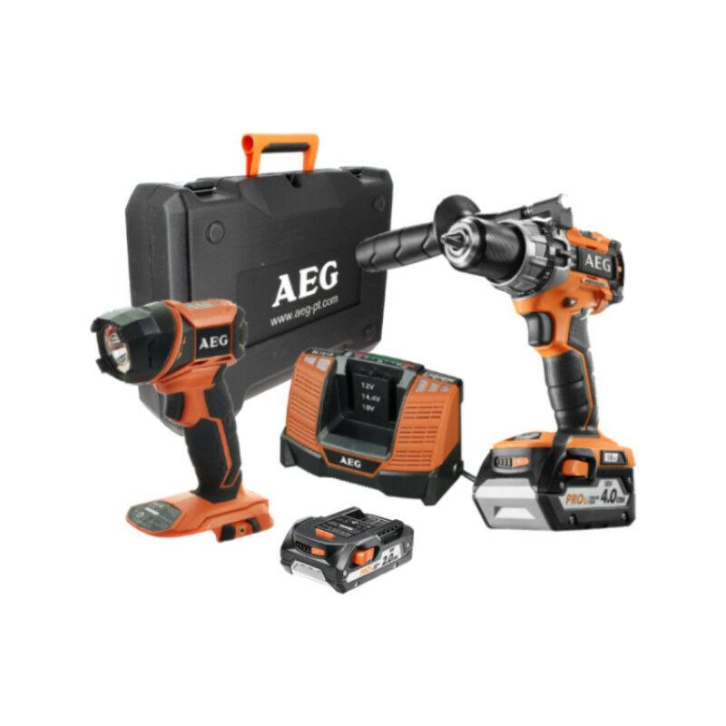 A.e.g - Perceuse à percussion compacte AEG 18V Brushless - 2 batteries 2.0Ah