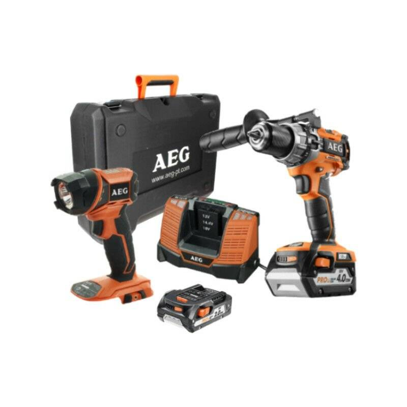 A.e.g - Perceuse à percussion compacte AEG 18V Brushless - 2 batteries 4.0Ah