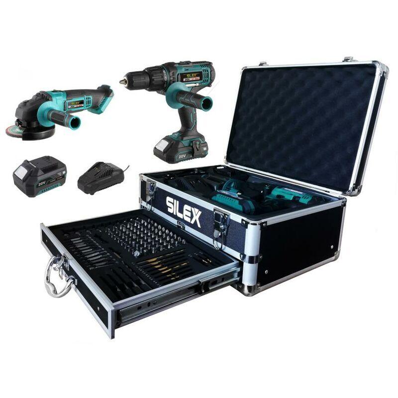 SILEX perceuse visseuse - percussion + meuleuse sans fil ® 2 batteries Li-Ion (2Ah &