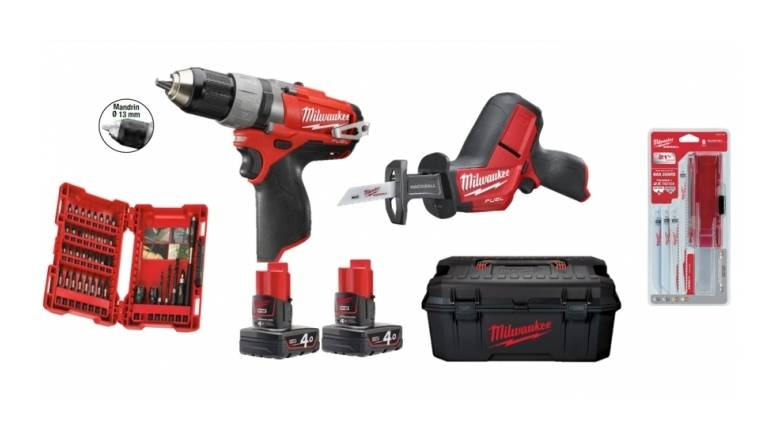 MILWAUKEE Pack Milwaukee M12 NDF 2 outils : PERCEUSE M12 CDD-0 + SCIE SABRE M12 CHZ-0