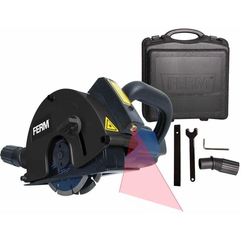 FERM WSM1009 Rainureuse 1700W 125mm - Laser - Incl. 2 lames diamant et
