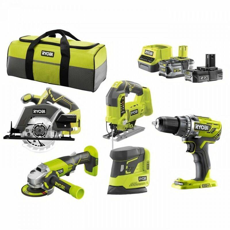 RYOBI R18CK3B-252SS Pack 5 outils ONE+ 18V (Perceuse, meuleuse, scie sauteuse, scie