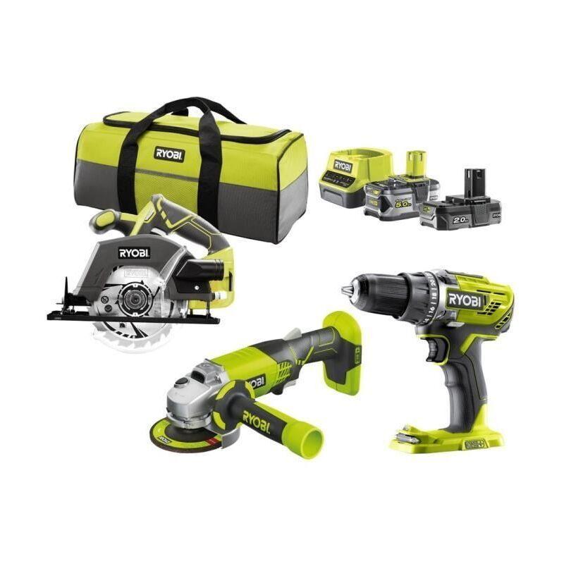 RYOBI R18CK3E-252S Pack 3 outils ONE+ 18V (Perceuse, meuleuse, scie circulaire)