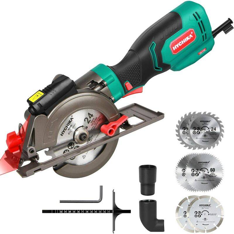 HYCHIKA Scie Circulaire, HYCHIKA 750W 3500RPM Mini Scie Circulaire avec Guide Laser et