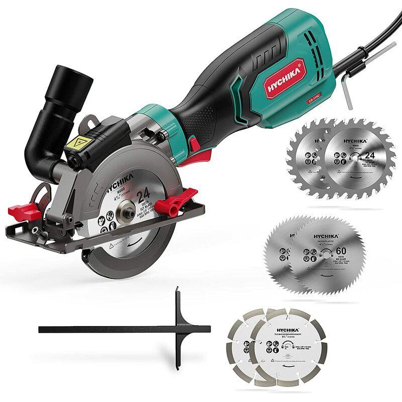 HYCHIKA Scie Circulaire 750W 3500RPM Mini Scie Circulaire avec Guide Laser et