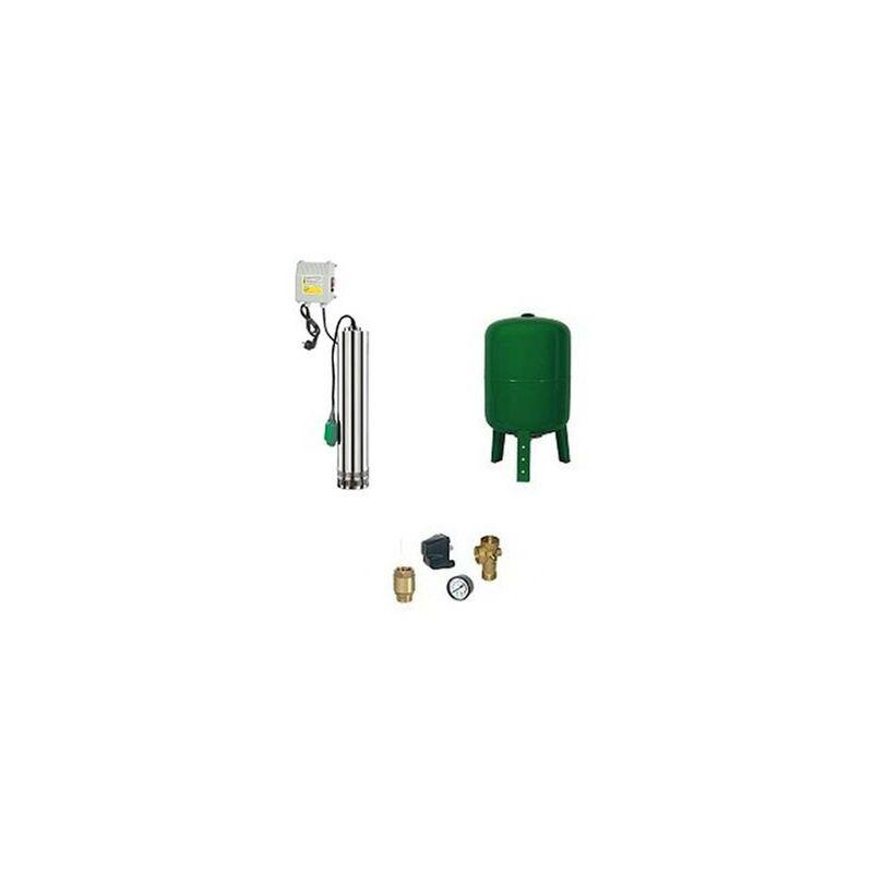 RIBIMEX Surpresseur en Kit Pompe Immergée 750 W - 4 Turbines Réservoir vertical 100 L