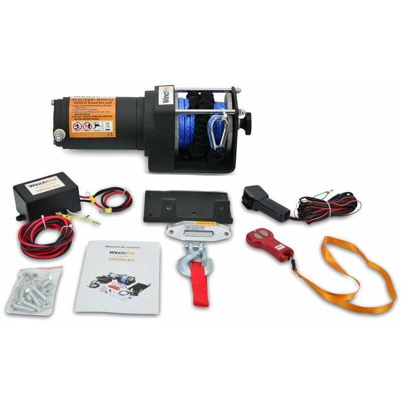 WinchPro - Treuil Électrique 12V 1360kg/3000lbs, Corde Synthétique Dyneema De