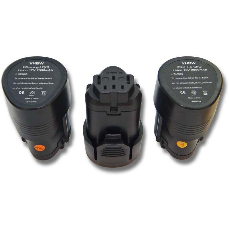 vhbw 3x Batteries Li-Ion 2000mAh (12V) pour outils AEG BLL12C, BS12C, BS12C2,