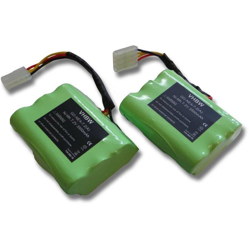 vhbw Sparset 2x batterie Ni-MH 3500mAh (7.2V) pour aspirateur Neato Signature,
