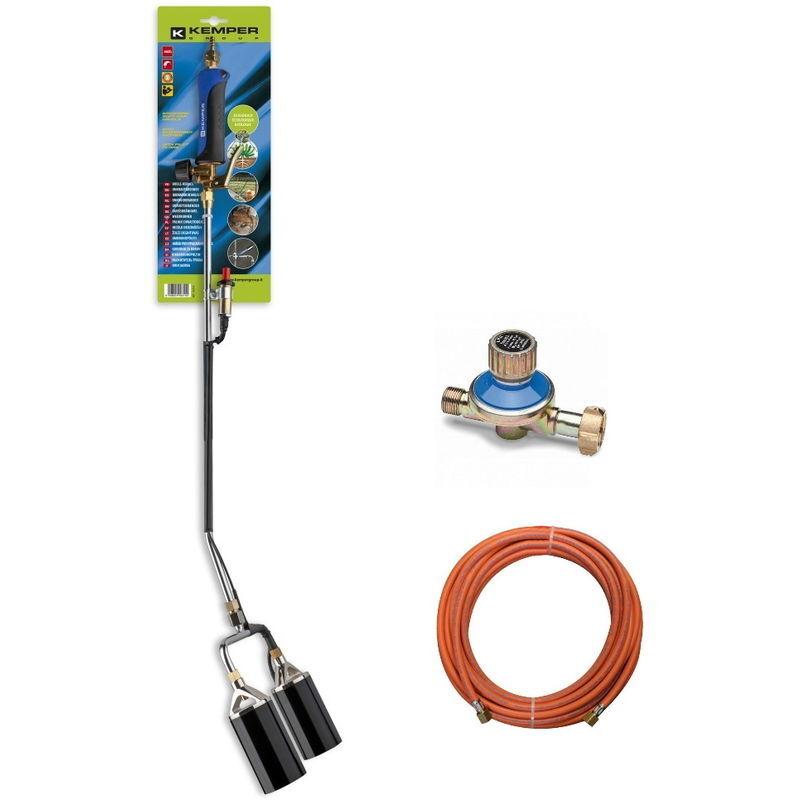 KEMPER désherbeurà double buse comprenant un tuyau de gaz de 5 m et un régulateur de