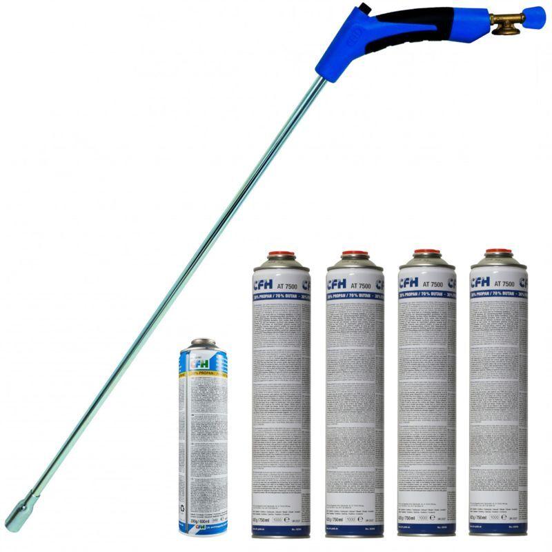 CFH Brûleur de mauvaises herbes CFH PZ7000 Deluxe avec 1 petite et 4 bouteilles de