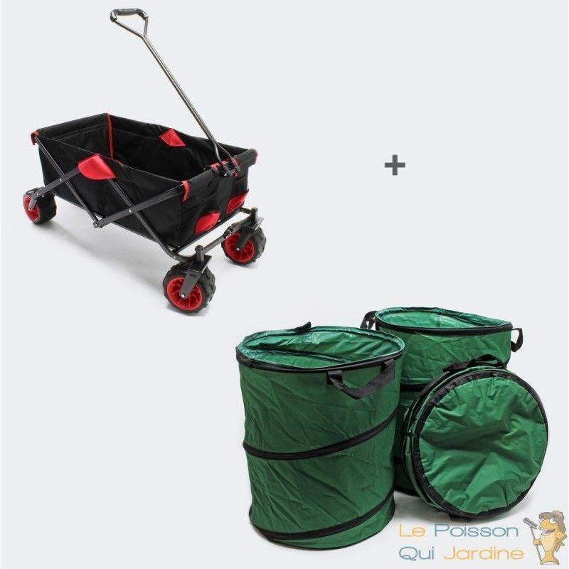 LE POISSON QUI JARDINE Chariot à main + 3 Sacs pour le jardin, la plage, courses, la ville, repliable