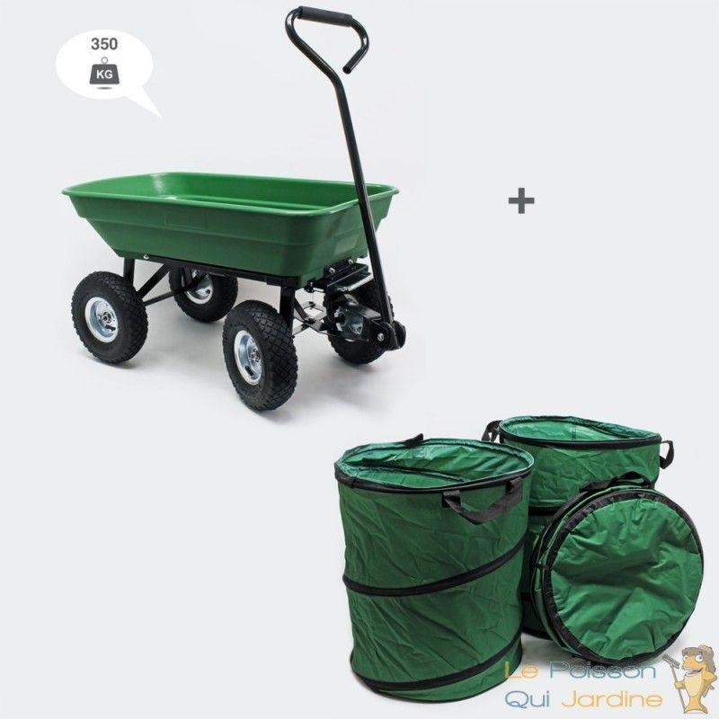 LE POISSON QUI JARDINE Chariot à Main 350 kg Inclinable Pour Le Jardin + 3 sacs de jardin