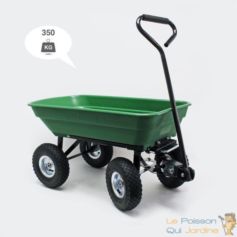 LE POISSON QUI JARDINE Chariot à Main 350 kg Inclinable Pour Le Jardin Ou Autres Transports - Vert