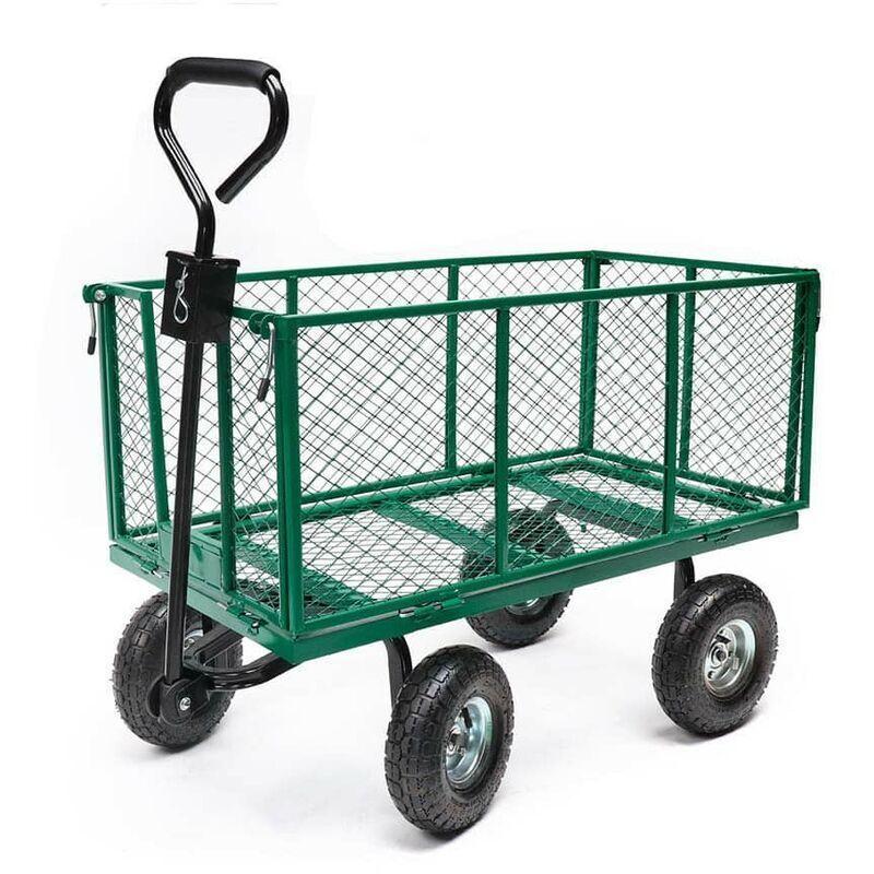 TERRE JARDIN Chariot de jardin métal pliable XXL