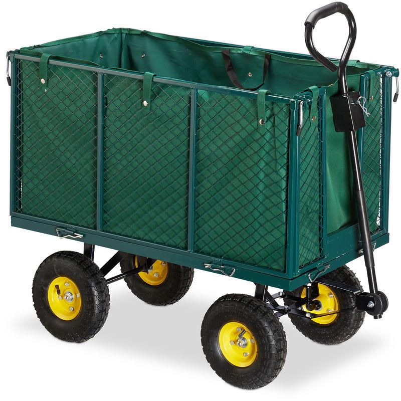 RELAXDAYS Chariot de jardin, grosse charrette à bras avec côtés rabattables,bâche