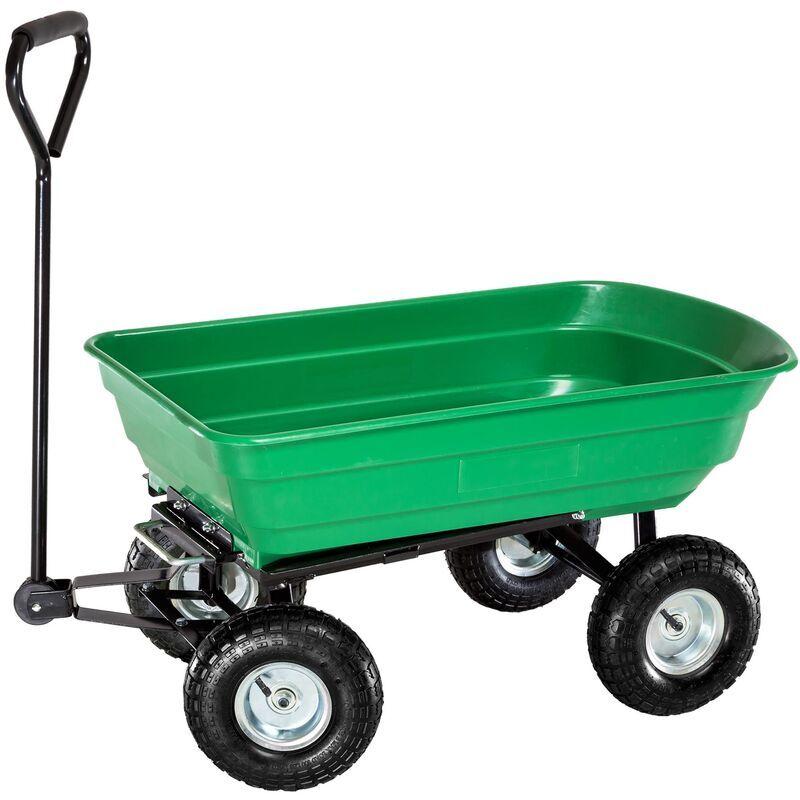 TECTAKE Chariot de Jardin à Benne Basculante Charge maximum 300 Kg Vert