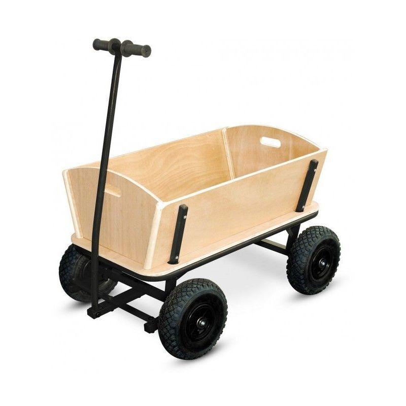 Legler - Chariot de jardin noir en bois  110 x 61 x 57 cm
