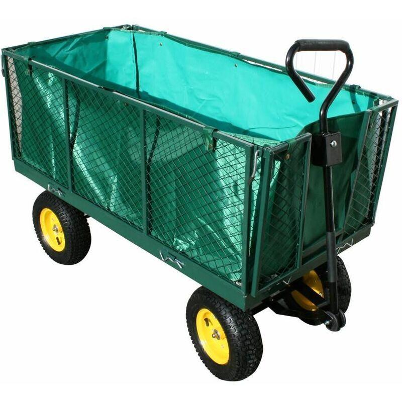 Varan Motors - TC1840 Chariot de jardin XXL, remorque à main, avec bâche, cotés
