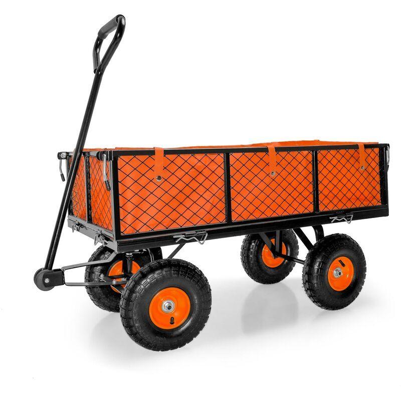 Boudech Chariot remorque de jardin en fer Chariot à outils de jardin avec bâche