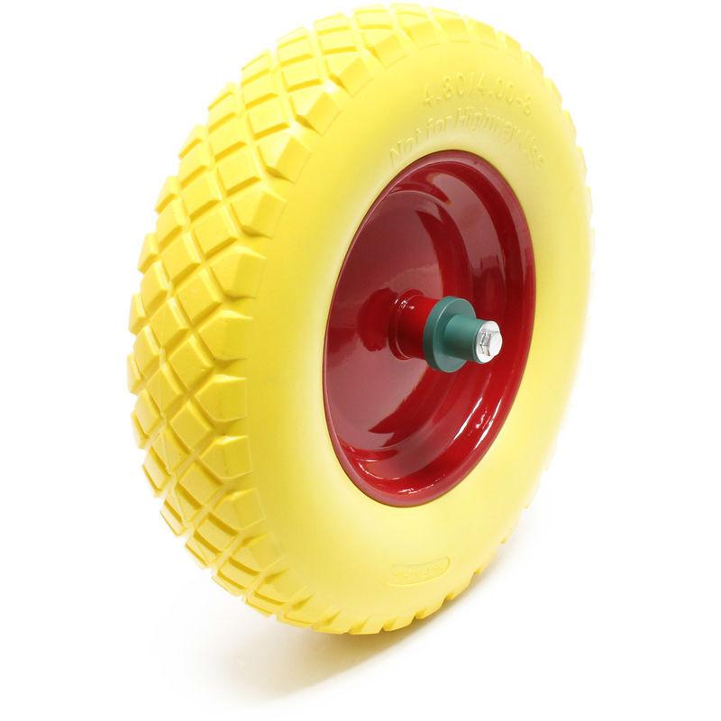 WILTEC Roue - Pneu de brouette 4.8/ 4.00-8 avec Axe jaune Increvable Charge jusqu'à