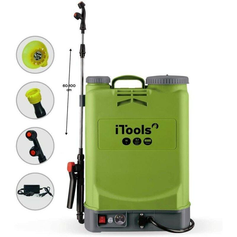 ITOOLS Pulvérisateur à Batterie 16Litres 5.5 bars Autonomie 3 Heures Chargeur + 3