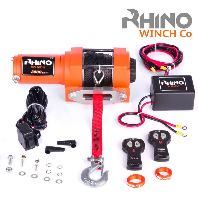 Rhino Winch Rhino - Treuil électrique 3,000lb/1360 kg - 12V - télécommande sans fil - Corde