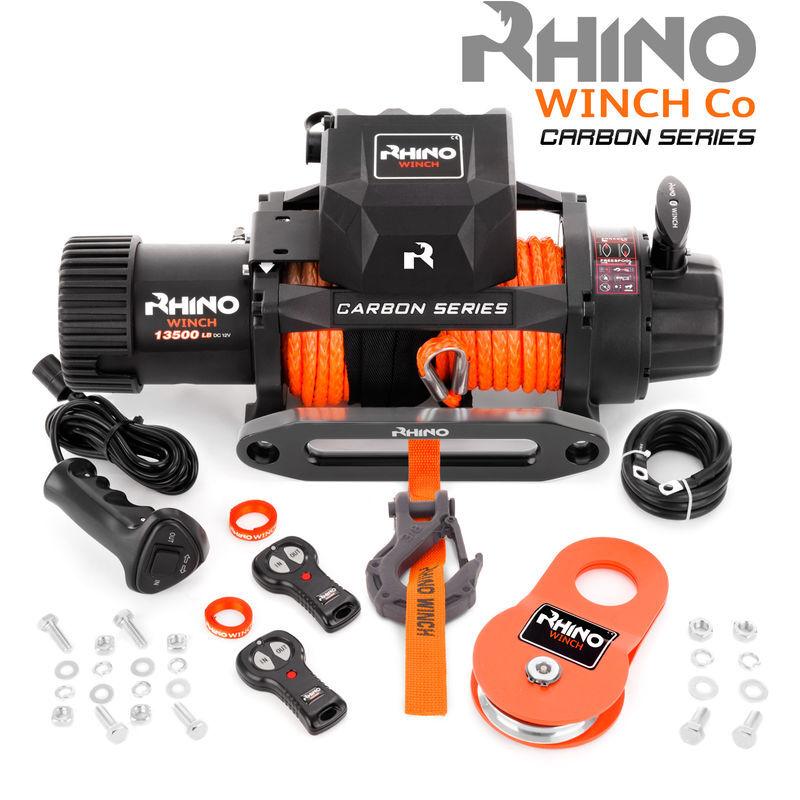 Rhino Winch Rhino - Treuil électrique 13,500lb/6125 kg Carbon Series - 12V - télécommande