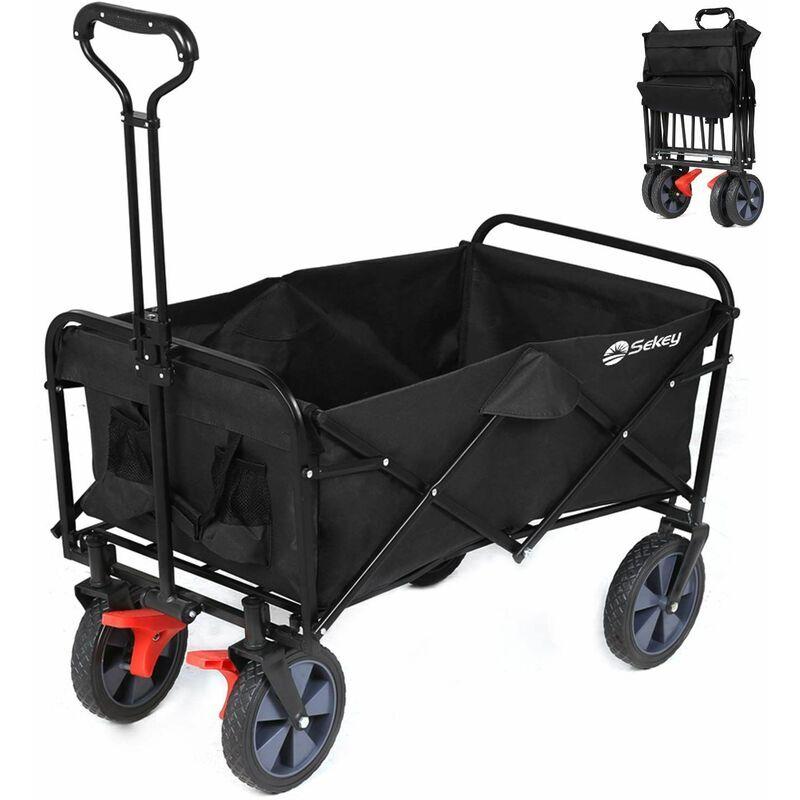 Sekey - Chariot de jardin pliable avec freins, Charrette à main pliant, Chariot