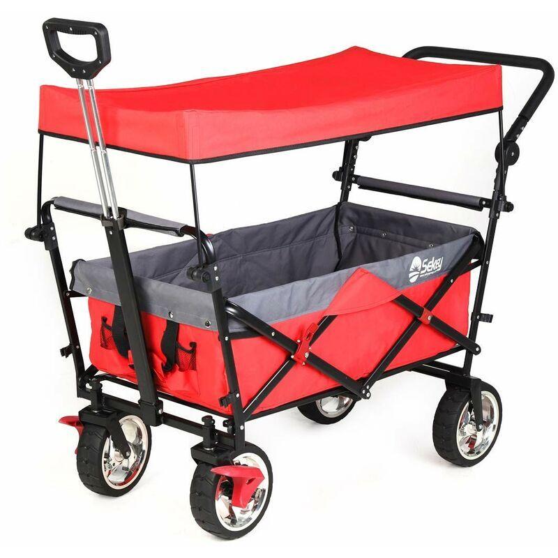 SEKEY Chariot pliant avec toit, poignée, Chariot de Plage, Chariot de Jardin pour