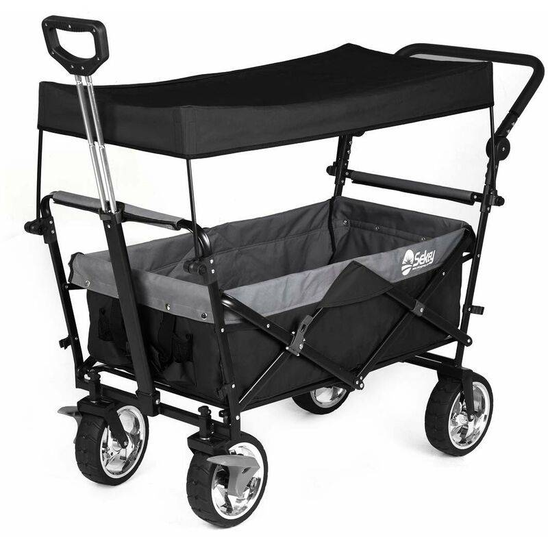 Sekey - Chariot pliant avec toit, poignée, Chariot de Plage, Chariot de Jardin