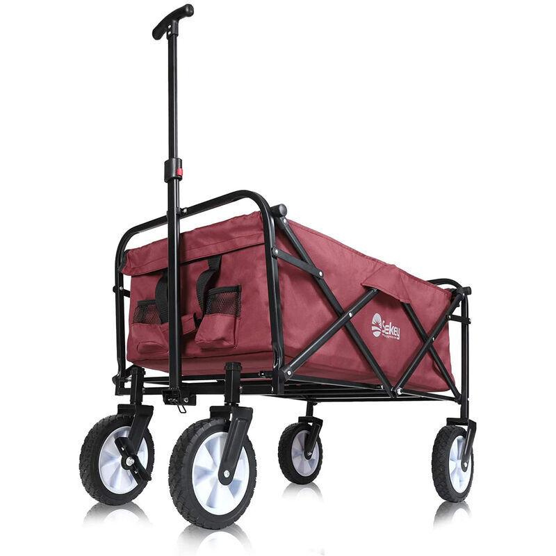 Sekey Chariot de Jardin Pliable Chariot de Plage Chariot de Jardin Rouge