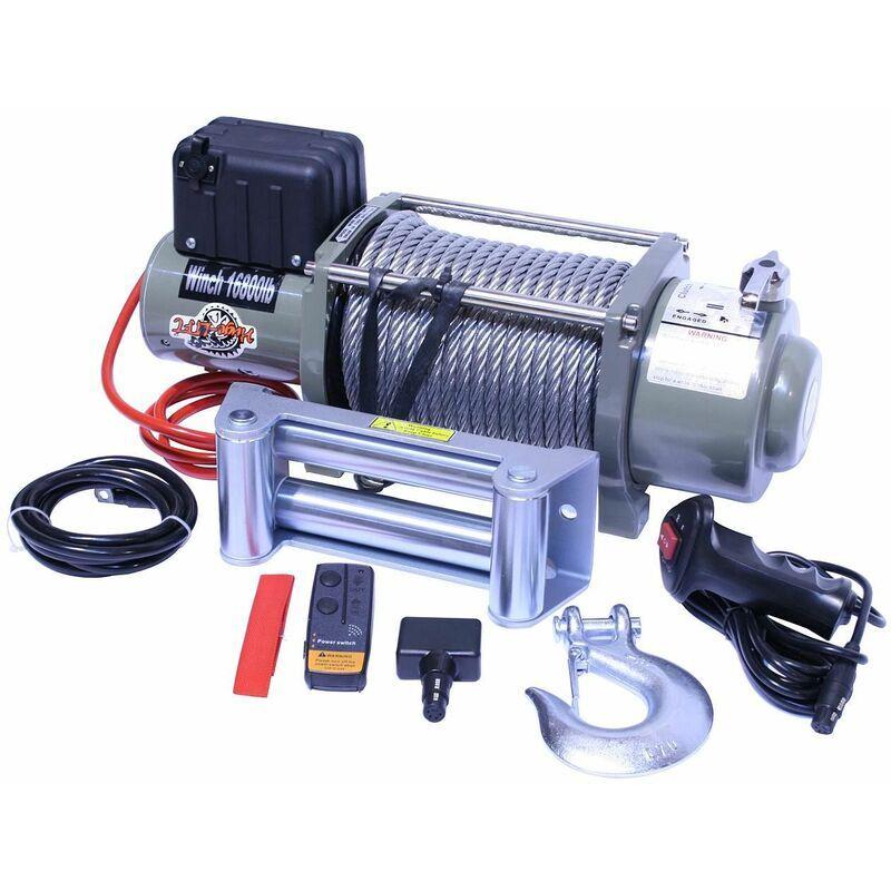 VARAN MOTORS var-sc16800 Treuil électrique 12V 7620KG 4200W, Treuil à câble longueur 28m