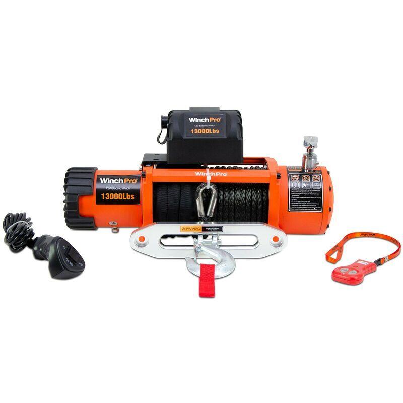 WinchPro - Treuil Électrique 12V 5900kg/13000lbs, 26m De Corde Synthétique