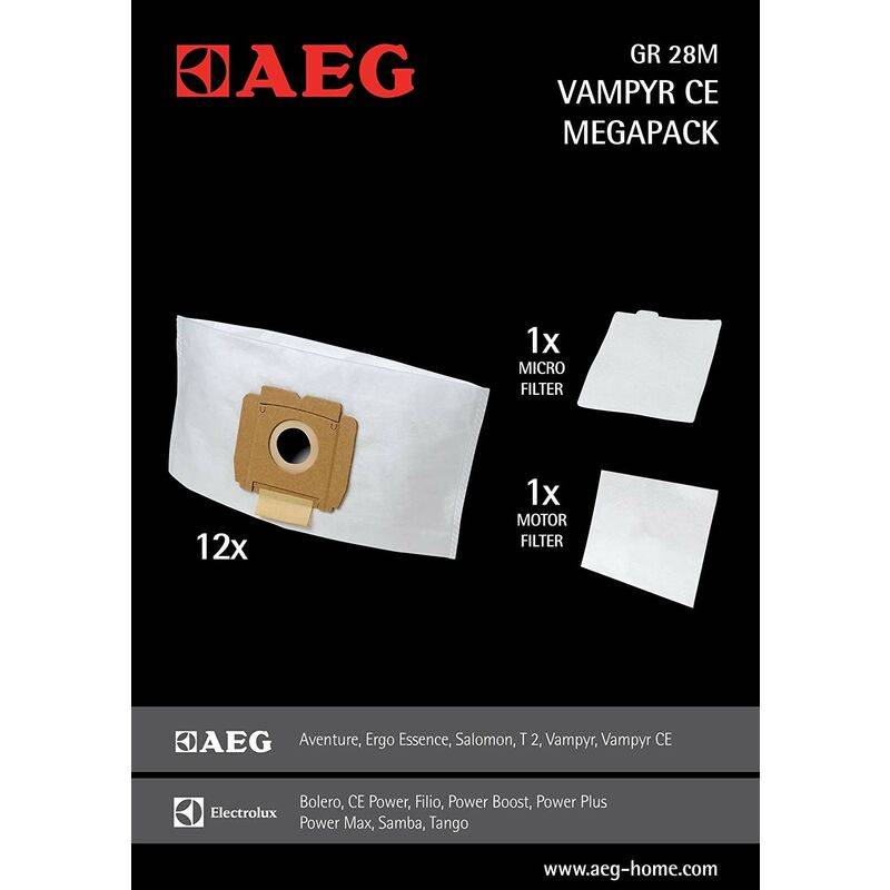 AEG Megapack GR28M Vampyr - Lot de 12 sacs + 2 filtres moteurs pour aspirateurs AEG