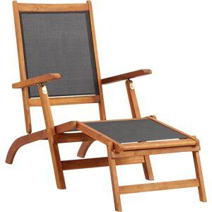 TRIOMPHE Chaise longue Bois d'acacia solide et textilène - Triomphe - Publicité