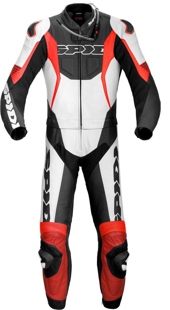 Spidi Sport Warrior Touring Two Piece Costume en cuir de moto Noir Rouge taille : 52