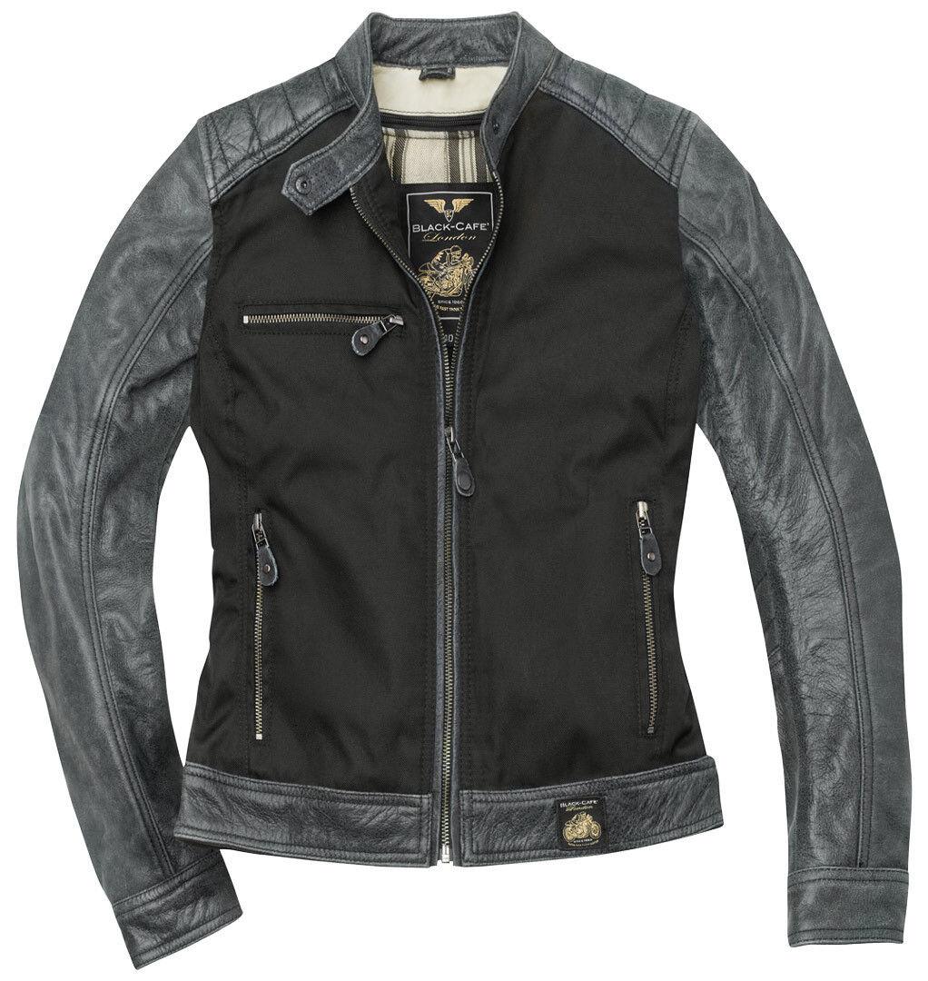 Black-Cafe London Johannesburg Dames Moto Cuir / Veste textile Noir Gris taille : XL