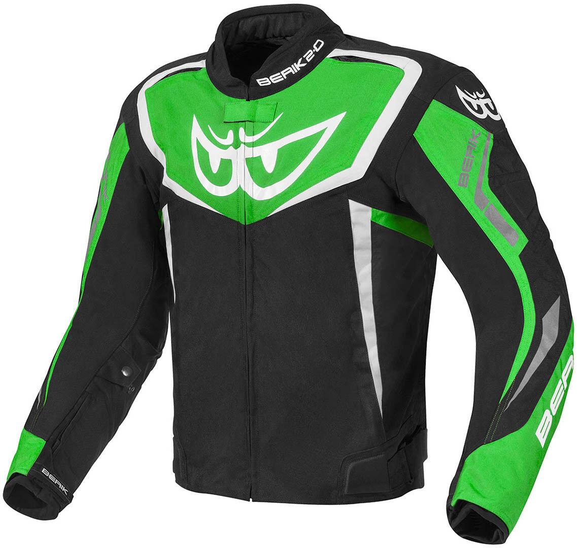 Berik Bad Eye Veste textile de moto imperméable à l'eau Noir Blanc Vert taille : 48