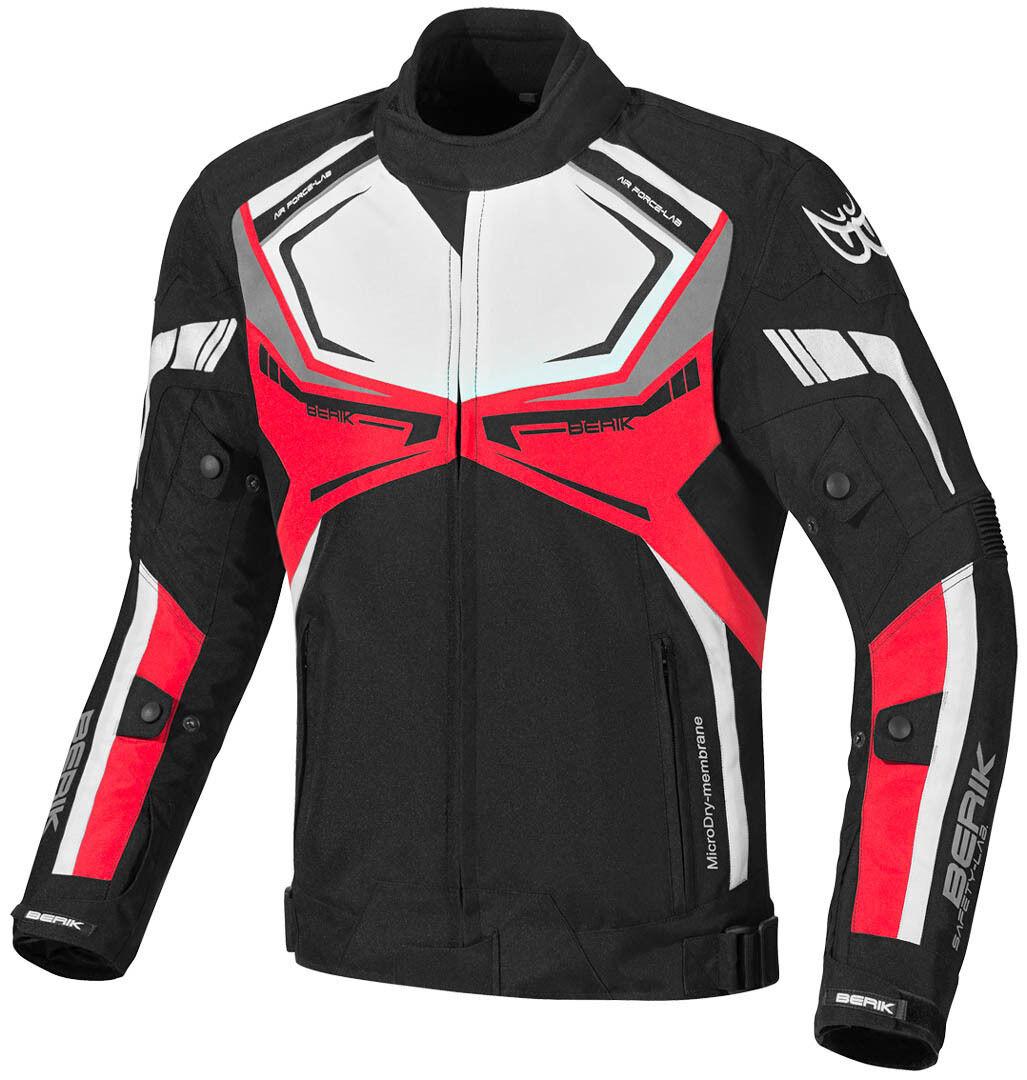 Berik Radic Veste textile de moto imperméable à l'eau Noir Blanc Rouge taille : 50