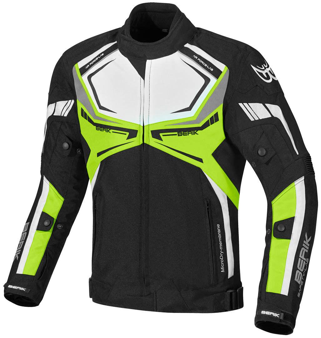 Berik Radic Veste textile de moto imperméable à l'eau Noir Blanc Jaune taille : 50