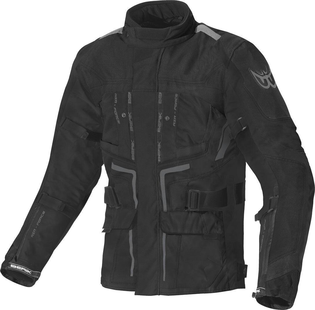 Berik Safari Veste textile de moto imperméable à l'eau Noir taille : 48
