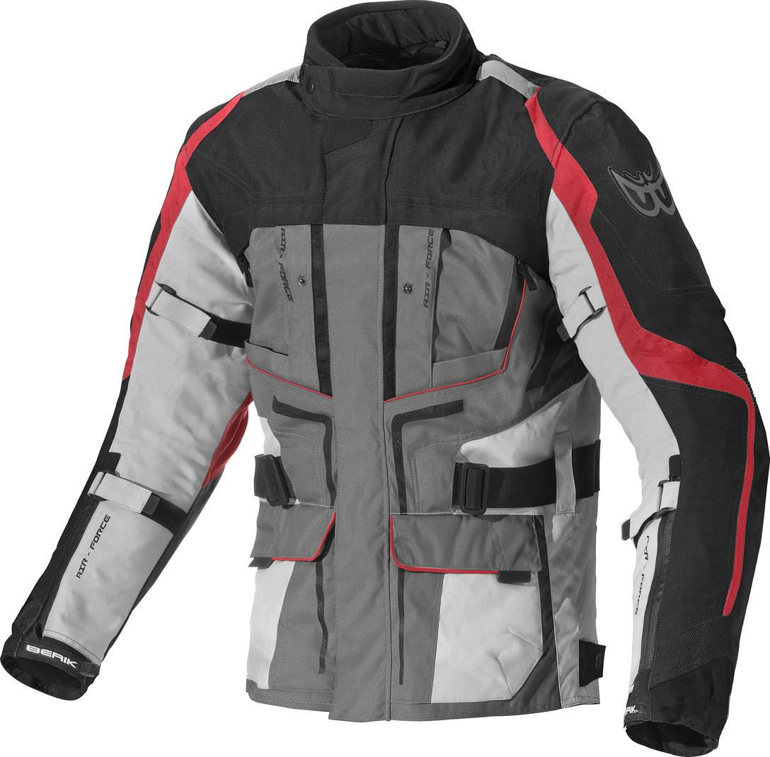 Berik Safari Veste textile de moto imperméable à l'eau Noir Rouge taille : 48