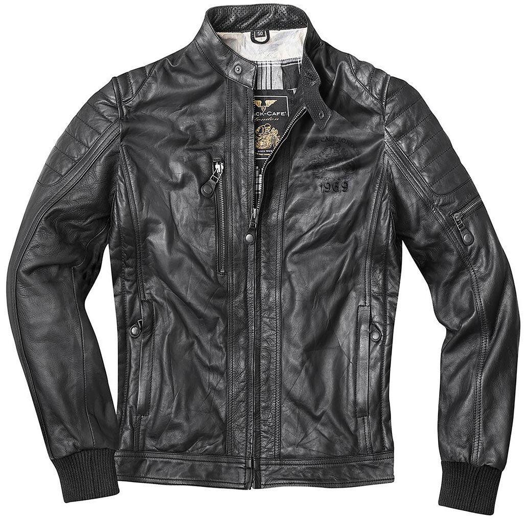Black-Cafe London Detroit Veste en cuir de moto Noir taille : 56