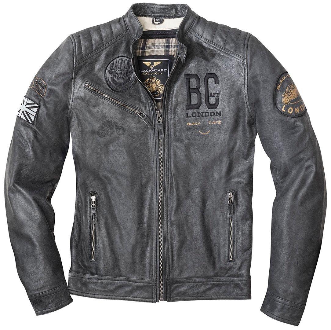 Black-Cafe London Rocka Veste en cuir de moto Noir taille : 50