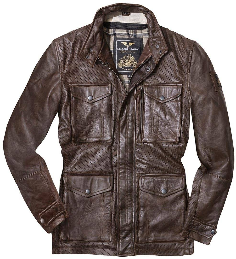 Black-Cafe London Classic Veste en cuir de moto Brun taille : 50
