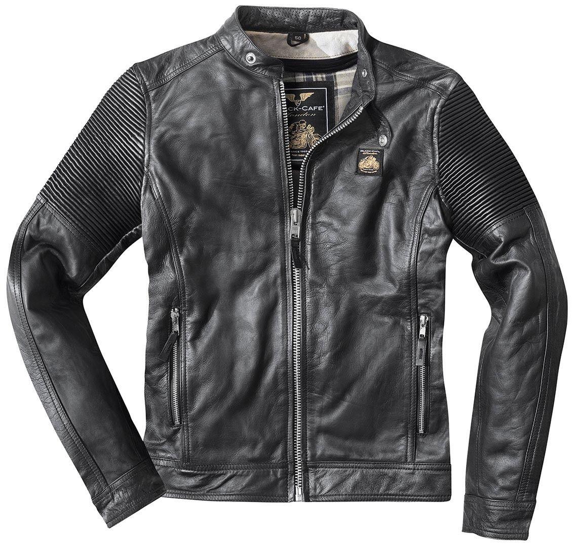 Black-Cafe London Milano Veste en cuir de moto Noir taille : 48