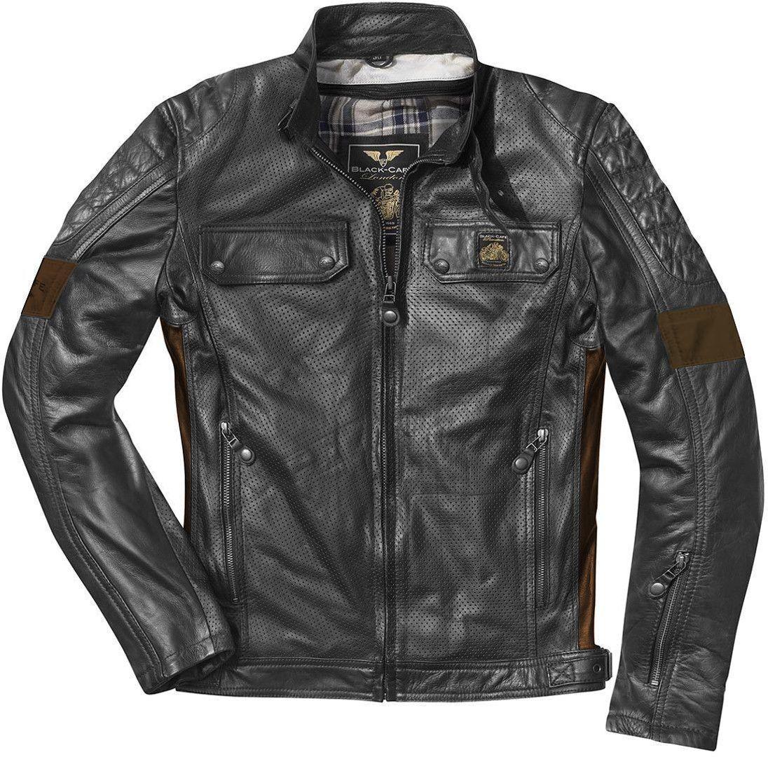 Black-Cafe London Brooklyn Veste en cuir de moto Noir taille : 54