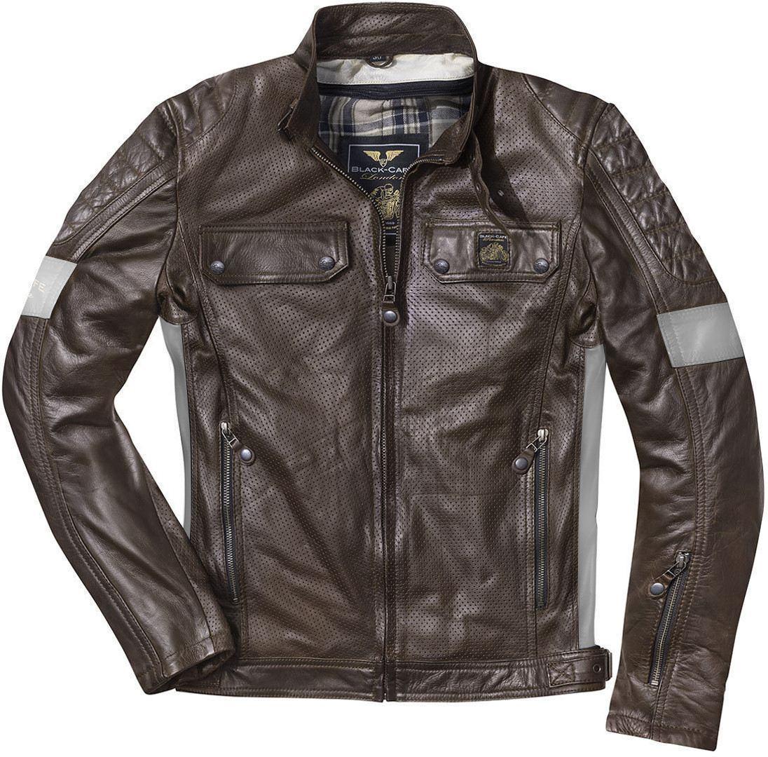 Black-Cafe London Brooklyn Veste en cuir de moto Brun taille : 56