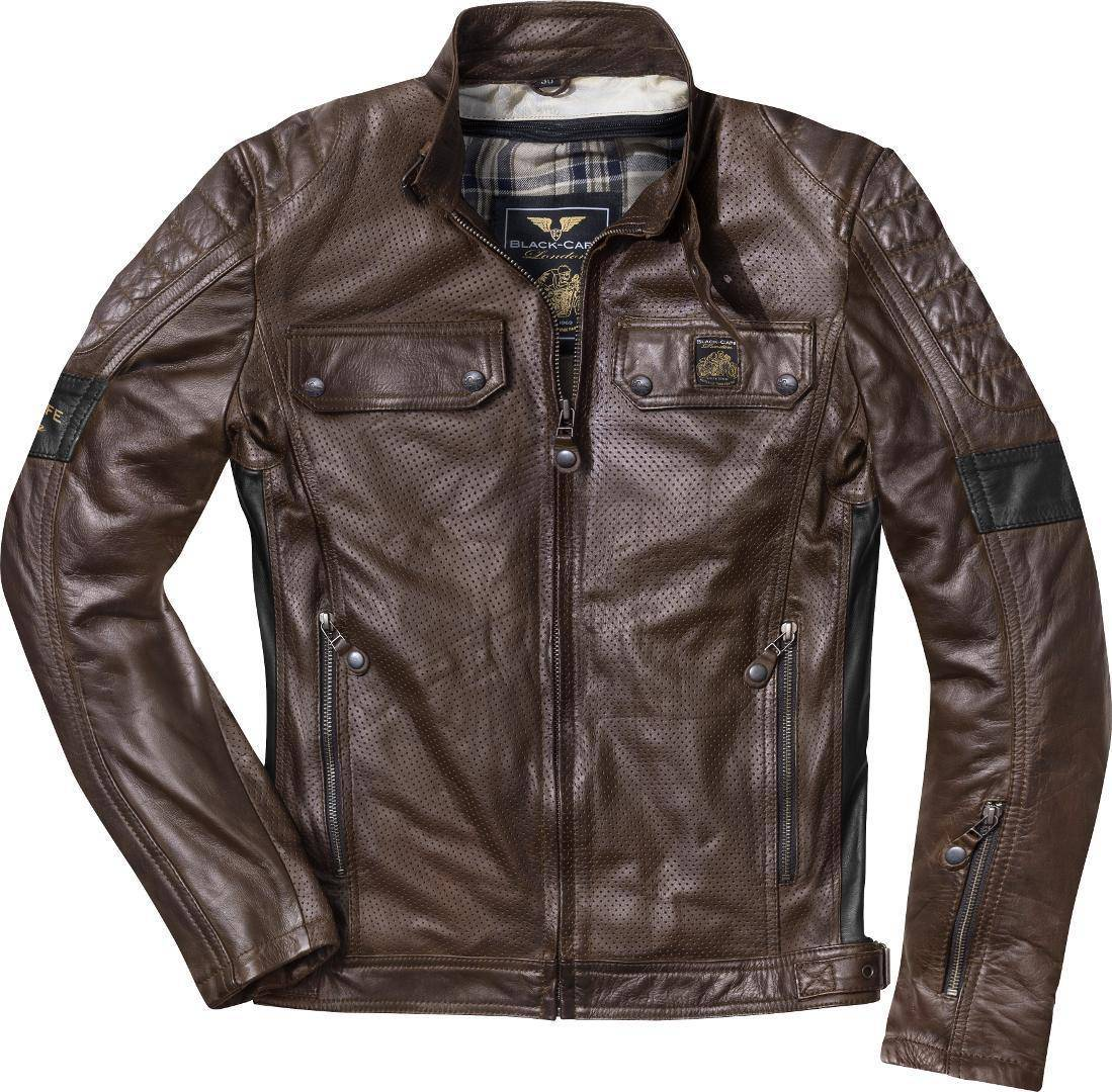 Black-Cafe London Brooklyn Veste en cuir de moto Brun taille : 50